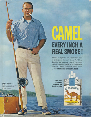1963 Camel Cigarettes Ad Smoking Deep-Sea Fisherman Gary Gould on the Dock Photo Tobacco Vintage Advertising Man Cave Bar Wall Art Print