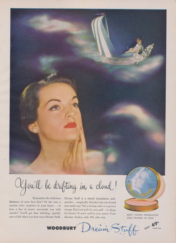 1950 Woodbury Dream Stuff Makeup Ad Vintage Cosmetics Advertisement Retro Beauty Compact Photo Print, Salon / Bathroom / Vanity Wall Art