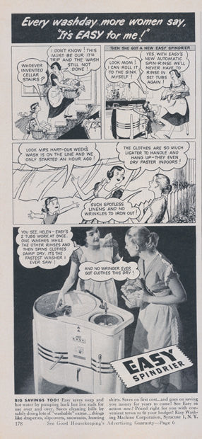 1950 Easy Spindrier Wringer Washing Machine Ad Washday Comic Art Vintage Advertising B & W Illustration Kitsch Laundry Room Wall Art Decor