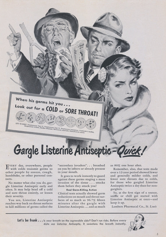 1950 Listerine Mouthwash Ad Subway Scene Black & White Illustration Vintage Advertising Bathroom Art / Dentist Office Wall Print