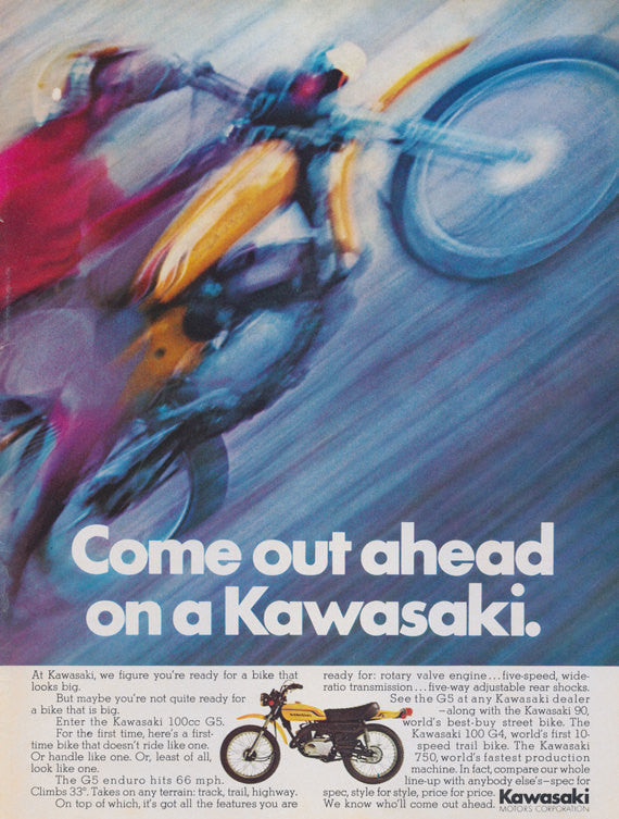 Kawasaki Enduro 100 cc G5 Motorcross Ad Vintage Advertising Wall Art Decor Print