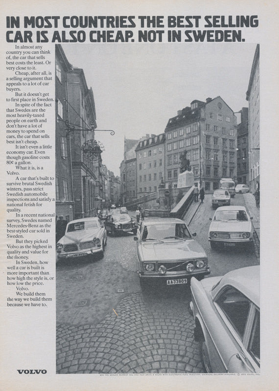 1972 Volvo Car Ad Sweden City Photo Vintage Advertisement Wall Art Decor Print