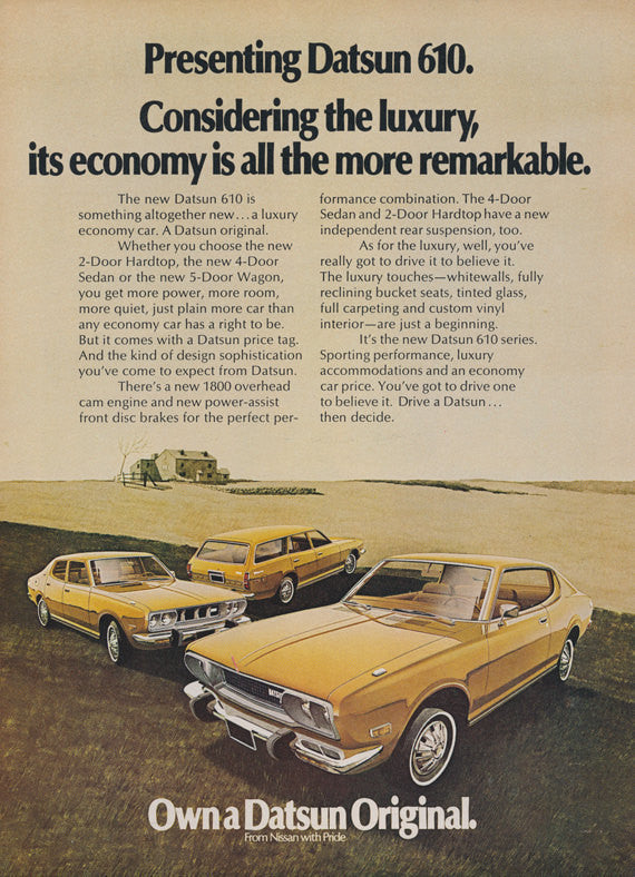 1972 Nissan Datsun 610 Car Ad Vintage Advertising Wall Art Decor