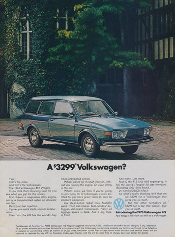 1973 Volkswagen 412 Wagon Car Ad VW Vintage Advertising Automobile Photo Print Wall Art Decor