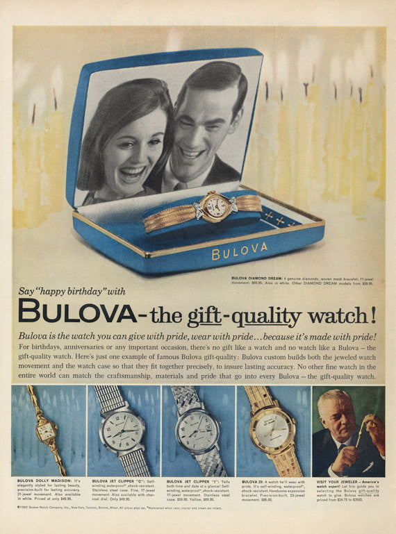 1962 Bulova Dress Watches Ad Dolly Madison, Jet Clipper C & I, Diamond Dream Vintage Advertisement Jewelry Boutique Wall Art Decor Print