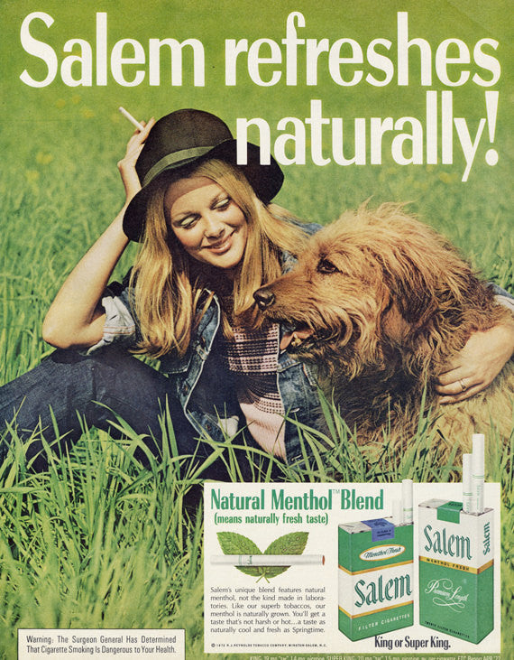 1972 Salem Cigarettes Ad Girl with Cute Shaggy Dog Photo Vintage Advertising Retro Wall Art Decor
