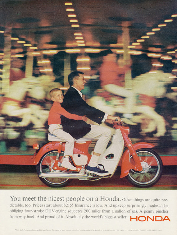 1965 Honda Super Cub Motorbike Ad Boy & Father Riding Motorcycle Carousel Merry-go-Round Photo Vintage Advertising Wall Art Decor