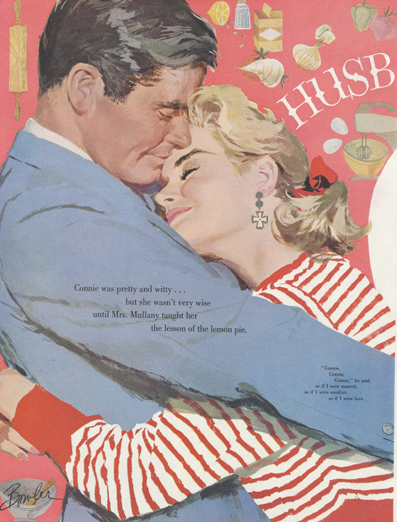 "1950s Vintage Magazine Art Illustration Baking Print ""Husbands Are to Love"" Wall Decor"