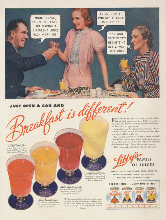 1940 Libby's Fruit Juice Ad Breakfast Drink Kitsch Photo Vintage Advertising Art Kitchen Wall Print