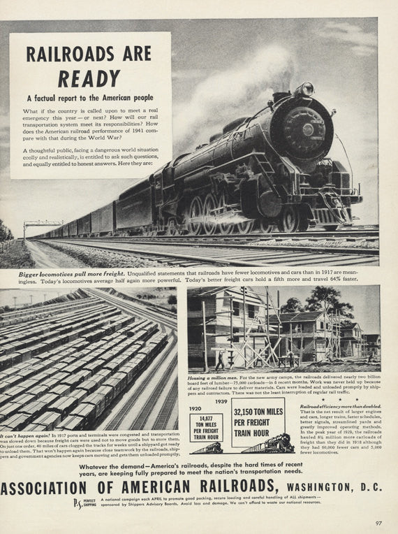 1941 Association of American Railroads Ad World War 2 II WWII WW2 Bigger Locomotives Train Illustration Vintage Advertisement Print Wall Art