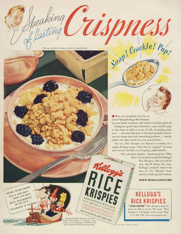 1940 Kellogg's Rice Krispies Cereal Ad Snap Crackle Pop Vintage Advertising Print Kitsch Kitchen Wall Art Decor