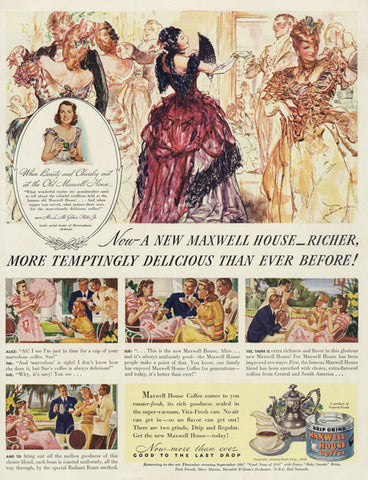 1940 Maxwell House Coffee Ad Ballroom Dancers Color Illustration Vintage Advertising Art Kitchen / Coffee Shop Wall Print