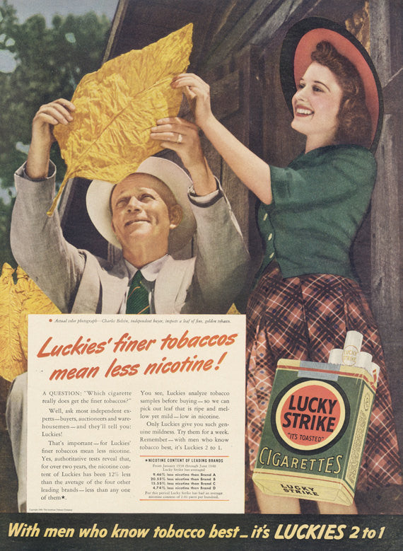 1941 Lucky Strike Cigarettes Ad Tobacco Leaf Photo Vintage Advertisement Collectible Tobacciana Man Cave Bar Pub Wall Art Print Fall Decor