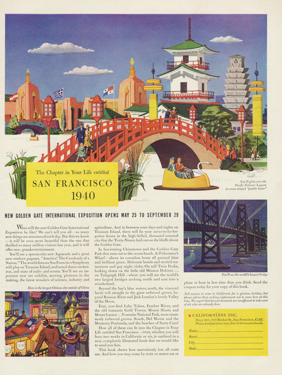 1940 San Francisco Golden Gate International Exposition Travel & Tourism Ad California City Illustration Vintage Advertising Wall Art Print