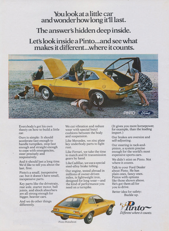1971 Ford Pinto Runabout Car Ad Yellow Automobile Photo Vintage Advertising Print, Wall Art Decor