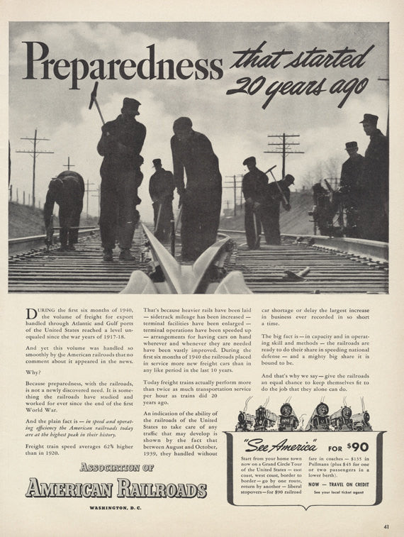 1940 Association of American Railroads Ad World War 2 II WWII WW2 Workers Black & White Photo Vintage Advertising Print Wall Art