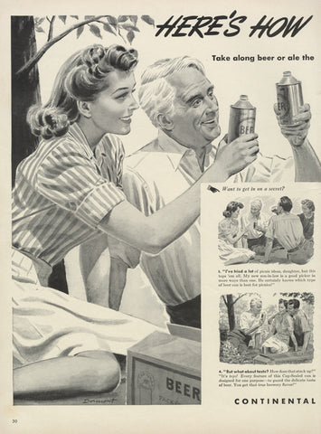 1940 Continental Can Company Ad Beer Can Ale Picnic Illustration Kitsch Vintage Advertising Print, Man Cave Pub Bar Wall Art Decor