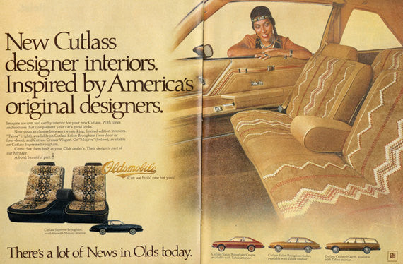 1979 Oldsmobile Cutlass Car Ad Native American Automobile Interior Vintage Advertisement Print Wall Art