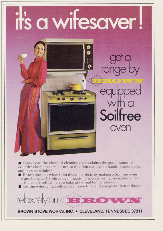 "1974 Brown Range Ad ""Wifesaver"" Vintage Stove Oven Sexist Advertising Kitchen Print Wall Art Decor"