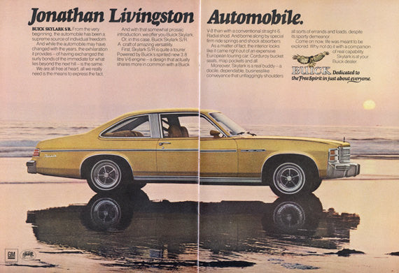 1975 Buick Skylark S/R Car Photo Ad Jonathan Livingston Automobile Vintage Advertisement 2-Page Wall Art Decor Print