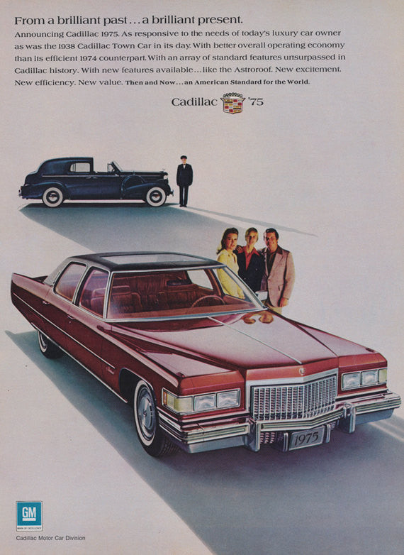 1975 Cadillac Car & 1938 Caddy Town Car Photo Ad Red Classic Automobile Vintage Advertisement Wall Art Decor Print
