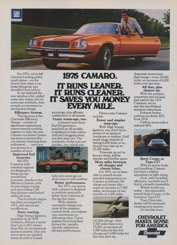 1975 Chevy Camaro Car Photo Ad Orange Chevrolet Sportscar Vintage Advertising Wall Art Decor Print