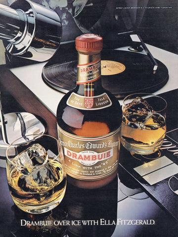 1980 Drambuie Liqueur Ad Vintage Liquor Advertisement Cocktail Drinks & Ella Fitzgerald Record Sophisticated Bar Wall Art Decor Print
