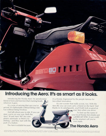 1983 Honda Aero 80 Scooter Ad Red Motorbike Motorcycle Photo Vintage Advertising Wall Art Decor