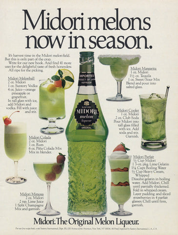 1983 Midori Melon Liqueur Ad Vintage Advertising Green Liquor Cocktails Photo Drink Recipe Print Bar Wall Art Decor