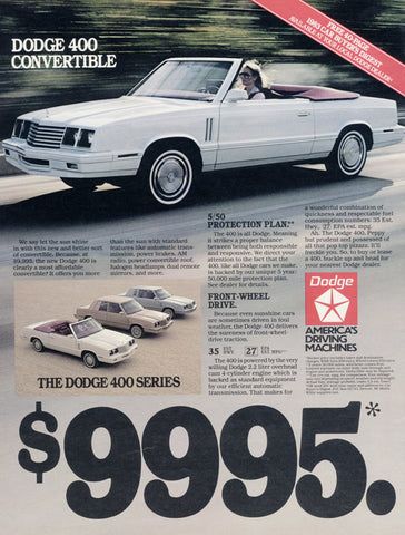 1983 Dodge 400 Convertible Car Photo Ad Vintage Advertising Wall Art Decor Print