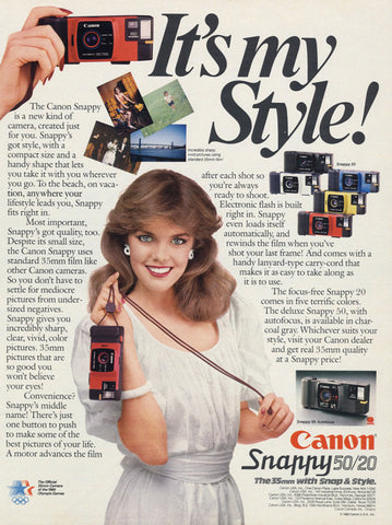 1983 Canon Snappy 50/20 Camera Ad Original Vintage Advertisement Wall Art Decor
