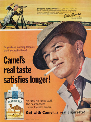 1965 Camel Cigarettes Ad Field Engineer Orin Murray Photo Vintage Tobacco Advertising Man Cave Bar Wall Art Print