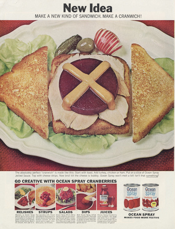 1964 Ocean Spray Canned Cranberry Sauce Ad Turkey Sandwich Food Photo Vintage Advertising Thanksgiving Retro Kitchen Diner Wall Art Print