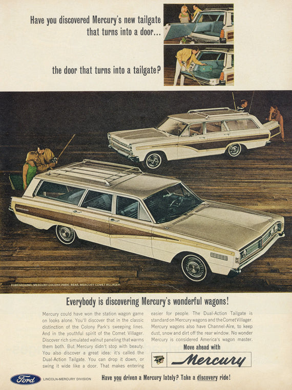 1966 Ford Mercury Colony Park & Mercury Comet Villager Ad Vintage Station Wagon Advertisement Wall Art Decor Print