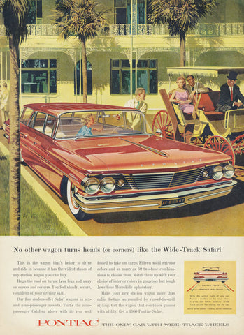 1960 Pontiac Wide-Track Safari Wagon Ad 60's Classic Car Vintage Advertisement Print Palm Trees Southern Road Trip Wall Art Decor
