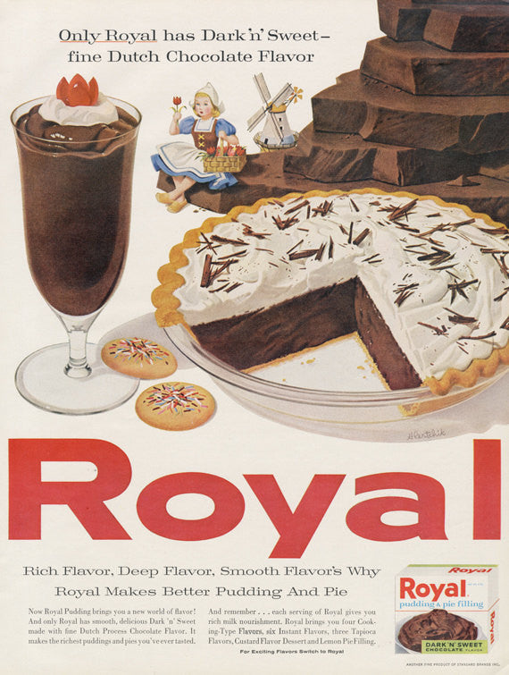 1960 Royal Dark 'N' Sweet Dutch Chocolate Pudding & Pie Filling Ad Chocolate Pie Dessert Photo Vintage Advertising Art Bakery Kitchen Print