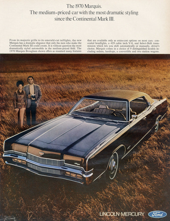 1970 Ford Marquis Brougham Car Photo Ad Vintage Advertising Wall Art Decor Print