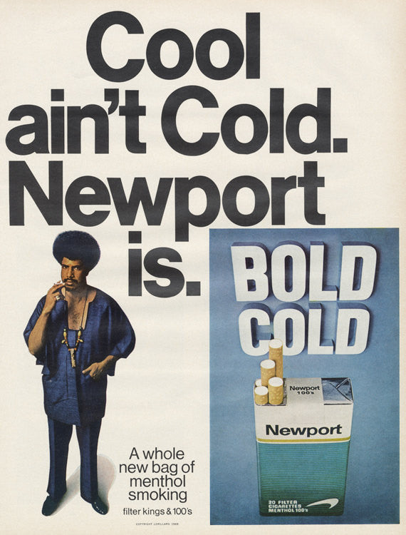 1969 Newport Cigarettes Ad Cool Man with Afro Photo Funny Vintage Advertising Retro Bar Wall Art Decor Print