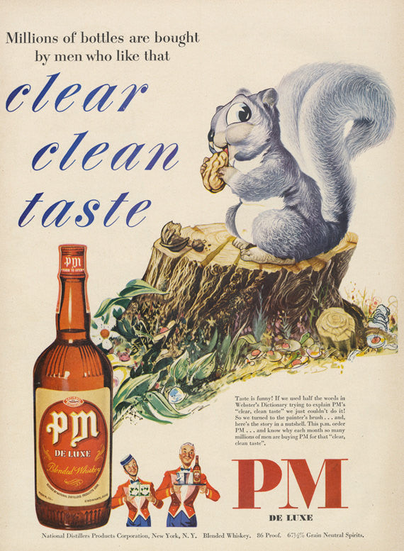 1951 pm de Luxe Blended Rye Whisky Ad Cute Squirrel Eating Nut Color Illustration Vintage Advertisement Print Bar Pub Spring Wall Art Decor