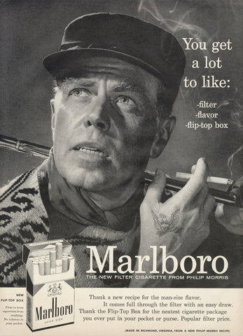 1956 Marlboro Man Cigarettes Ad Hunter Eagle Tattoo Black & White Photo Vintage Advertising Print Bar Tavern Wall Art Decor