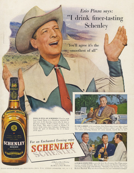 1951 Schlenley Reserve Whiskey Ad Ezio Pinza Movie Star Photo Vintage Advertising Print Country Western Tavern Bar Wall Art Decor
