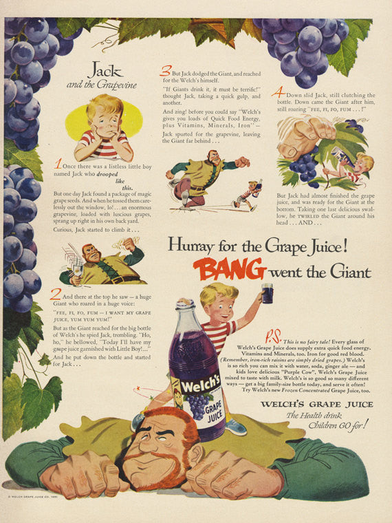 1951 Welch's Grape Juice Ad Jack and the Grapevine Fairy Tale Illustration Cute Print Vintage Advertising Retro Kitchen Wall Art Decor