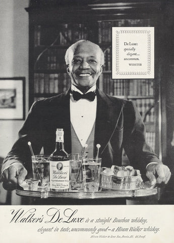 1951 Walker's De Luxe Bourbon Whiskey Ad Butler Photo Print Black Americana Hiram Walker Liquor Vintage Advertisement Bar Wall Art Decor