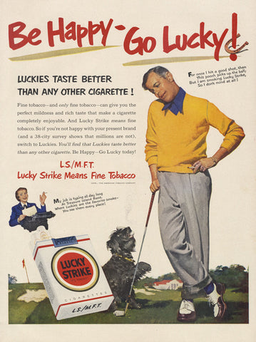 1951 Lucky Strike Cigarettes Ad Golfer and Dog Illustration Vintage Advertising Art Collectible Tobacciana Man Cave Bar Pub Wall Print