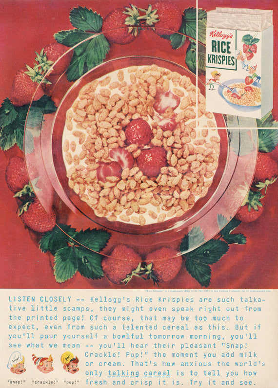 1954 Kellogg's Rice Krispies Ad Cereal with Strawberries Vintage Advertising Print Retro Kitchen Wall Art Decor