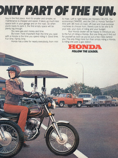 1980 Honda Motorcycle Ad Friends Riding Motorbikes Photo Vintage Advertisement Print Wall Art Decor