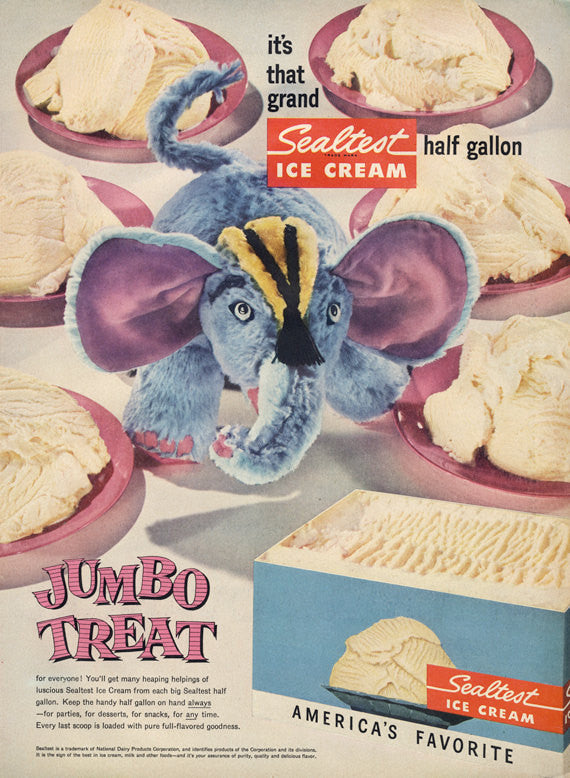 "1950s Sealtest Ice Cream Ad ""Jumbo Treat"" Weird Elephant Stuffed Animal Vintage Advertisement Print Retro Kitsch Kitchen Wall Art Decor"