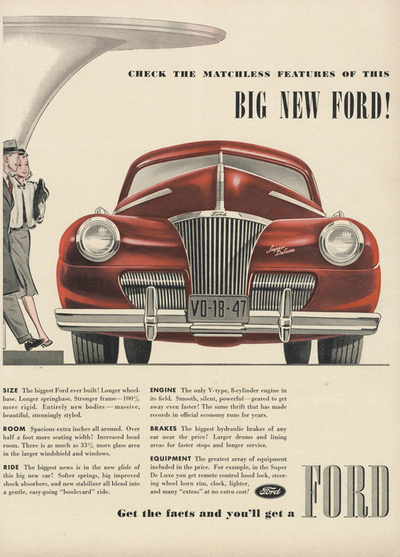 1940 Ford Super Deluxe Classic Car Ad Red Automobile Illustration ...
