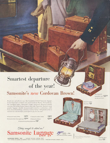 1948 Samsonite Luggage Ad Cordovan Brown Suitcases Vintage Advertisement Train Travel Illustration Print Wall Art Decor
