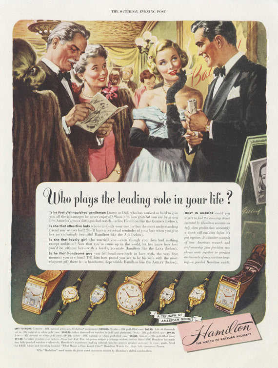 "1948 Hamilton Watches Ad Elegant Gala Illustration ""Leading Role in Your Life"" Vintage Advertising Jewelry  Print Wall Art Decor"